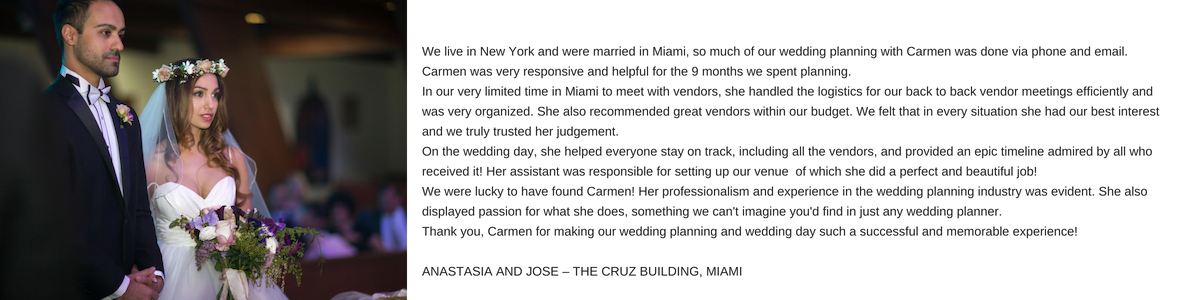 Carmen Mesa Weddings and Events, Reviews
