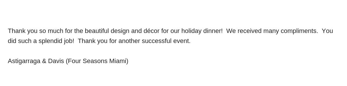 Carmen Mesa Events, Reviews