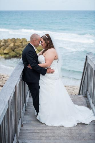 beach wedding intimate moment
