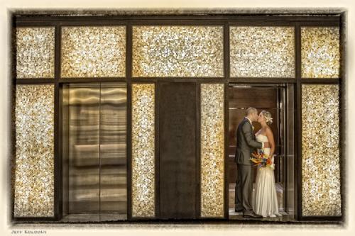 Wedding couple at Hilton Fort Lauderdale elevator