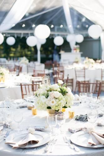 White flowers centerpiece tented wedding Parkland