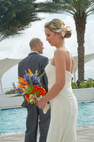 First look and tropical flowers bouquet Hilton Fort Lauderdale
