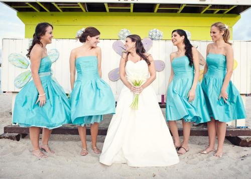 Miami Beach wedding, bride and bridesmaids