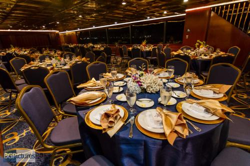 Nautical theme blue and gold yacht dinner reception